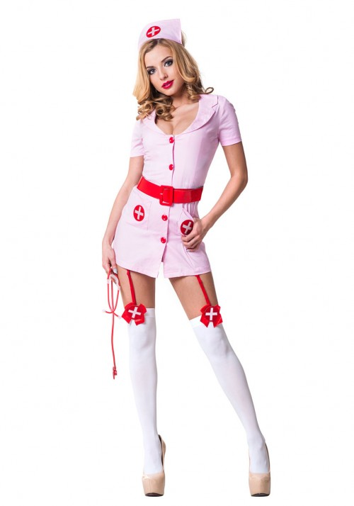 Костюм Похотливая медсестра розовая S/M