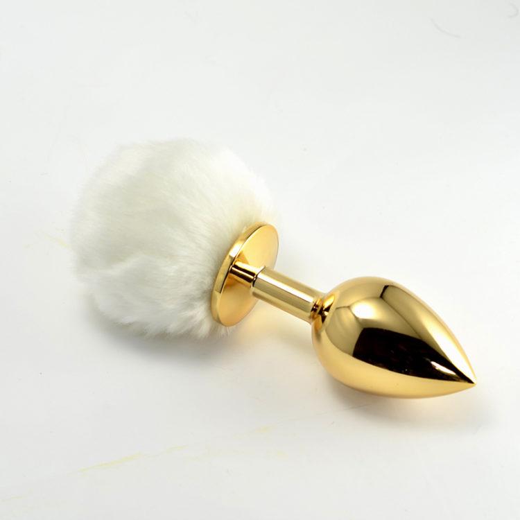 Анальная пробка с белым хвостом Small Gold Plug