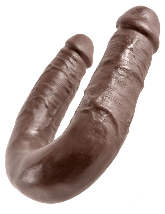Двойной фаллоимитатор King Cock U-Shaped Medium Double Trouble Brown