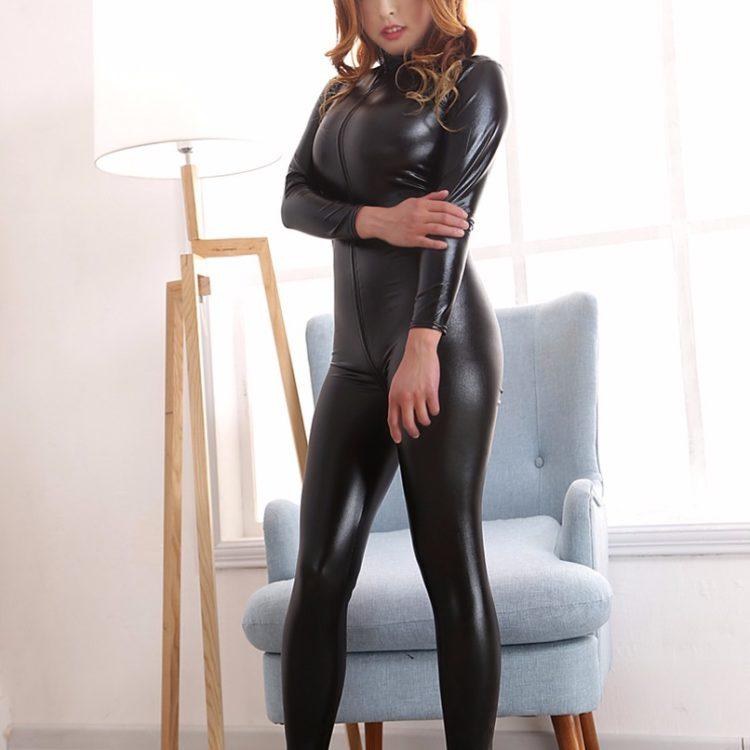 Блестящий черный боди-комбинезон XL