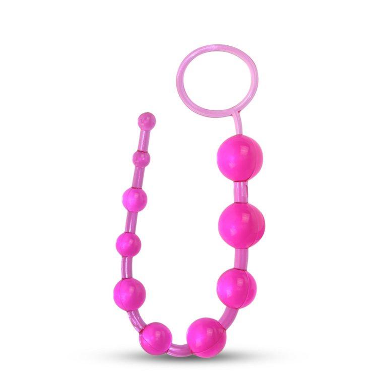 Розовые анальные бусы Jelly X-10