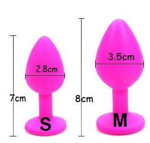Анальная силиконовая пробка розовая с розовым кристаллом S