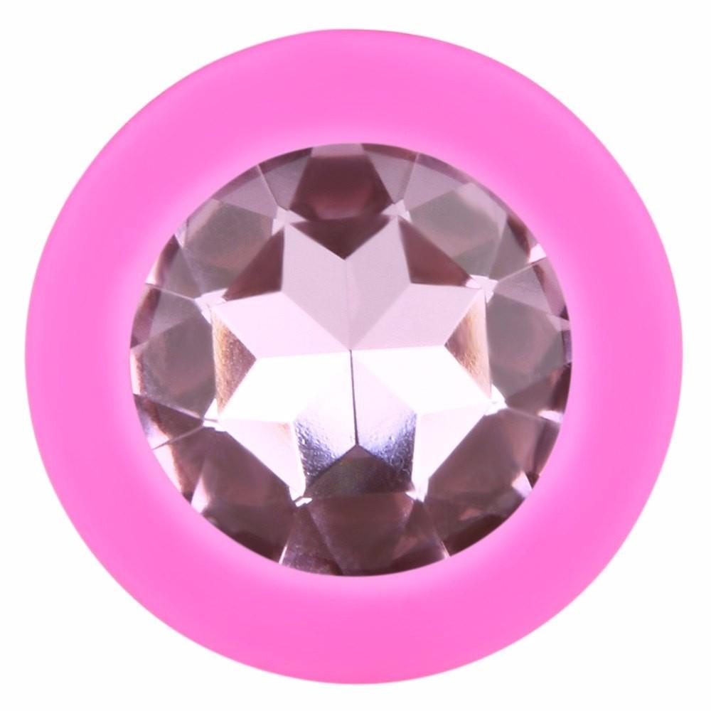 Анальная силиконовая пробка розовая с розовым кристаллом M