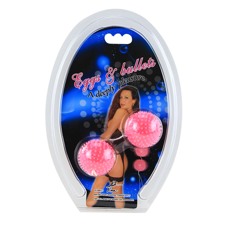 Розовые анально-вагинальные шарики с мягкими шипами