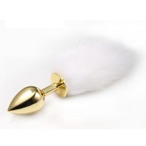 Анальная пробка с хвостиком Anal Plug White Tail Gold L