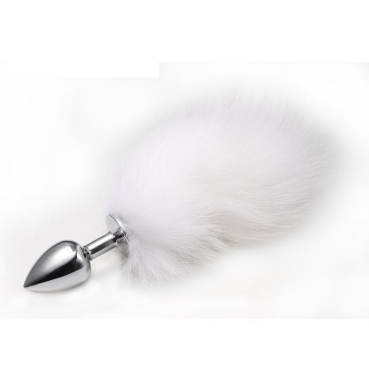 Анальная пробка с хвостиком Anal Plug White Tail Silver S