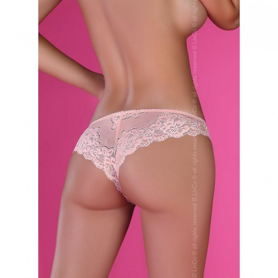 Ажурные трусики розово-пудрового цвета Rati S/M