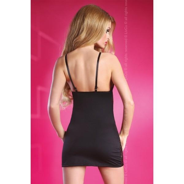 Черная с кружевными вставками сорочка Rosanne S/M