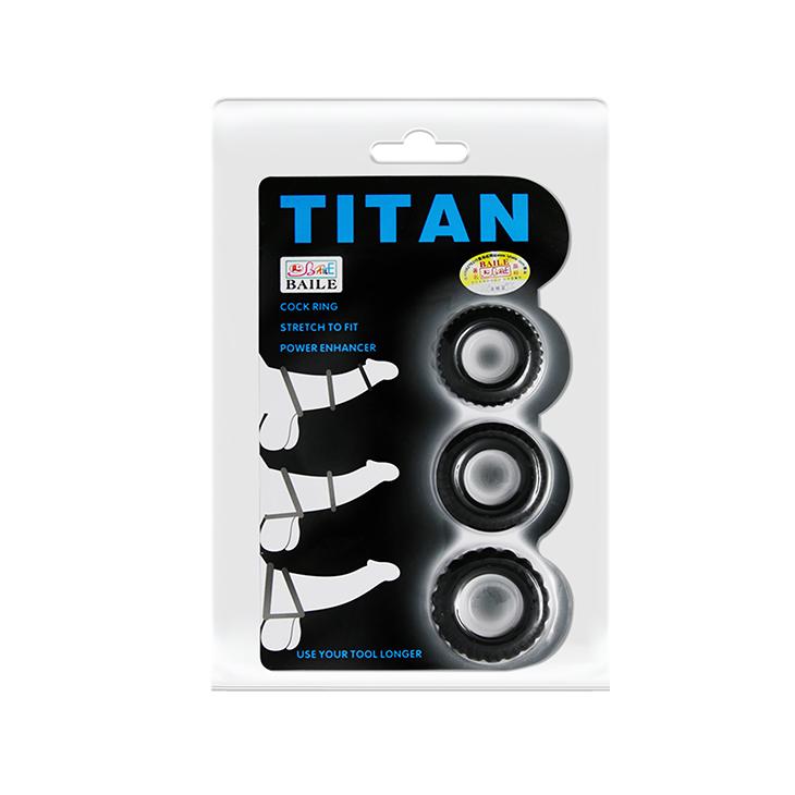 Набор из трёх черных эрекционных колец Titan