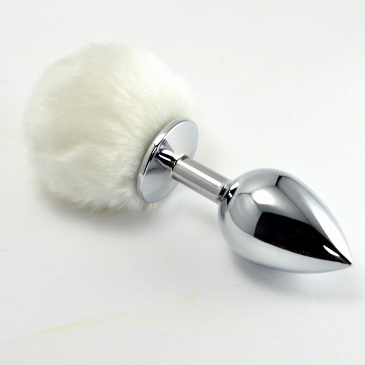 Анальная пробка с белым хвостом Small Silver Plug