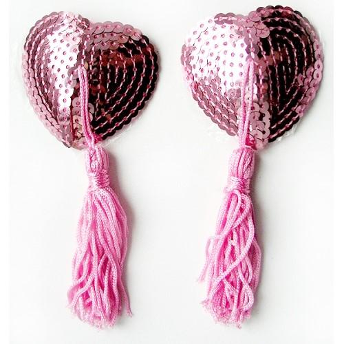Пэстисы для груди с паетками розовые