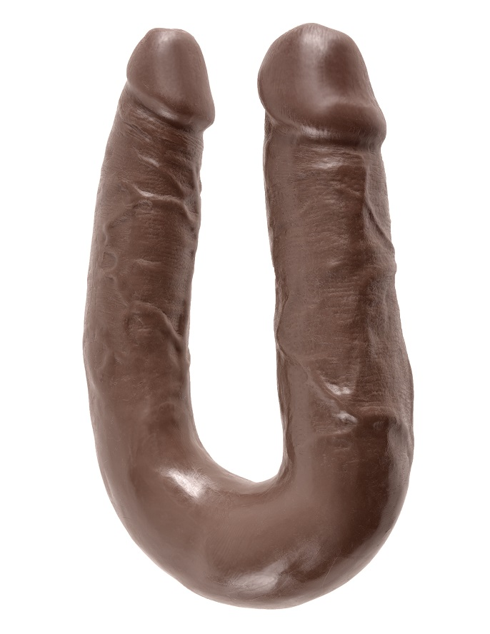 Двойной фаллоимитатор King Cock U-Shaped Medium Double Trouble Brown