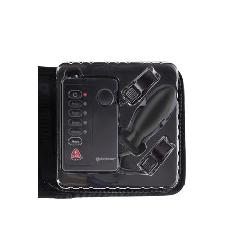 Анальная пробка и зажимы для сосков с электростимуляцией FFS Shock Therapy Kinky Couples Travel Kit