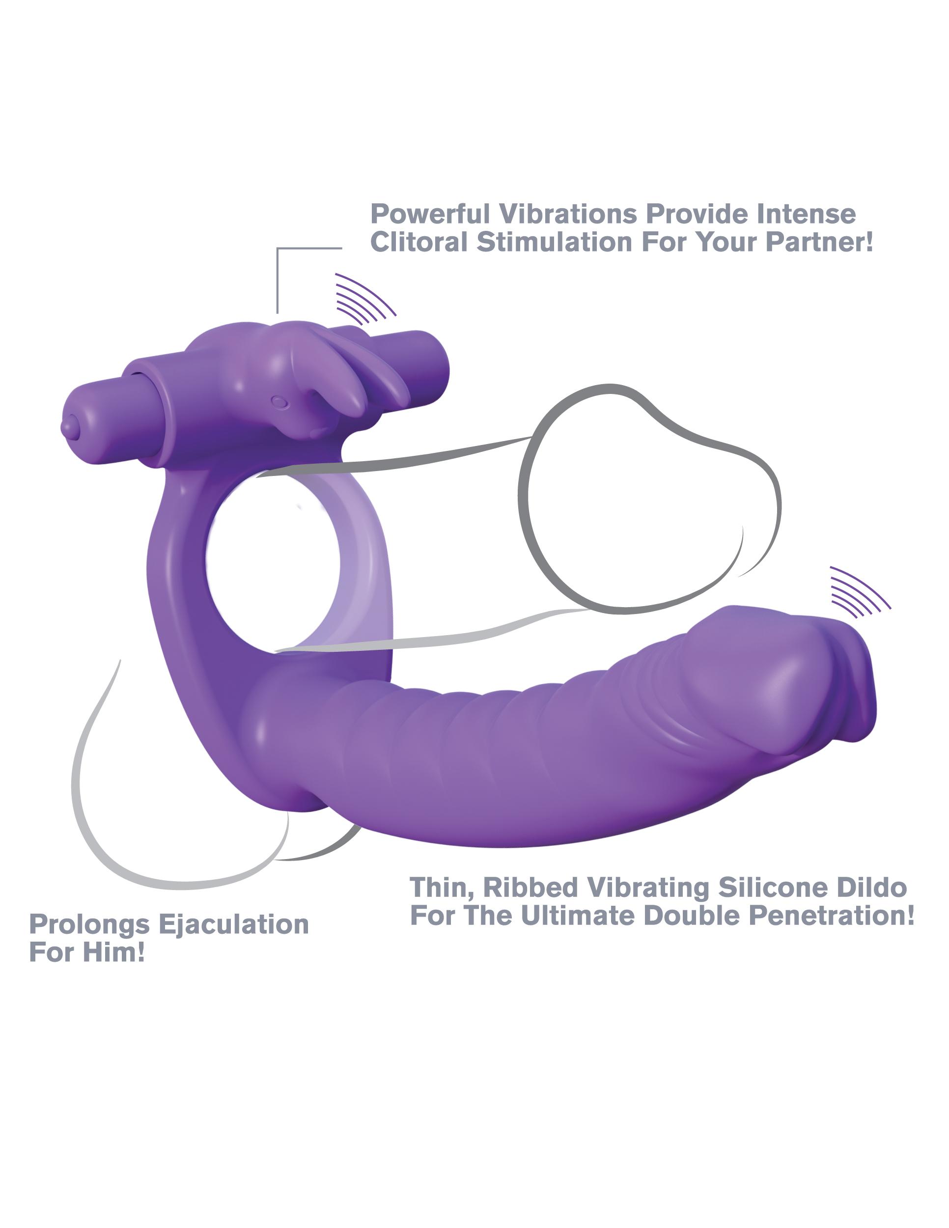 Вибро-кольцо для двойного проникновения Fantasy C-Ringz Silicone Double Penetrator Rabbit