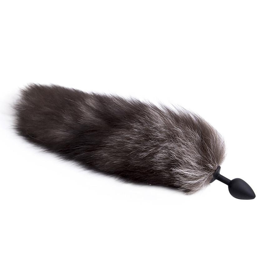 Черная пробка с хвостом анальная 40 см