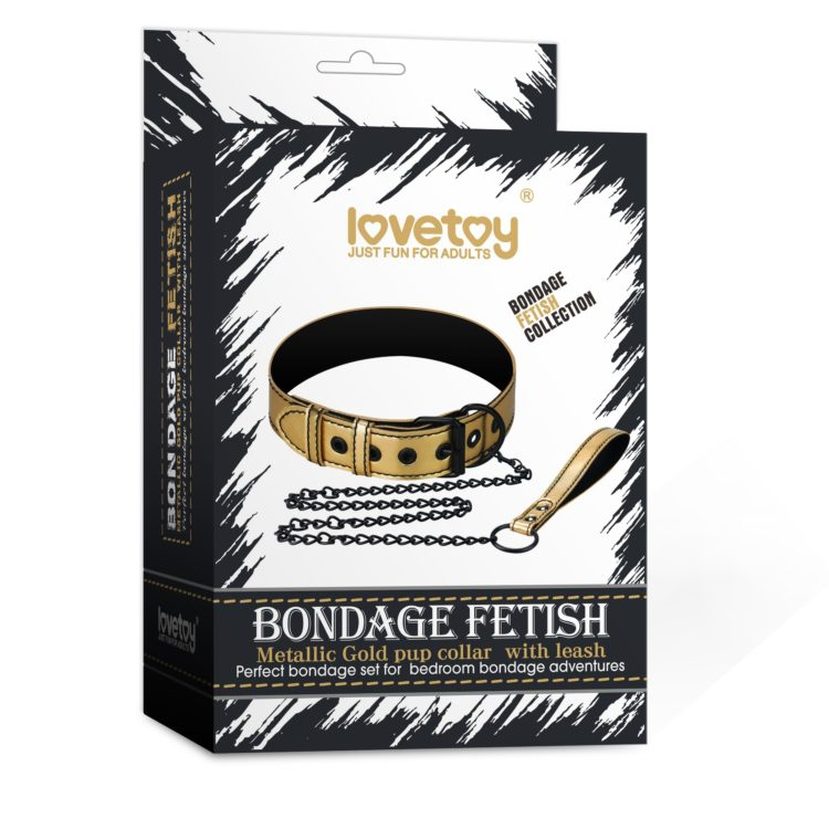 Ошейник с поводком на цепи Bondage Fetish Black Matt Collar With Leash золотистый