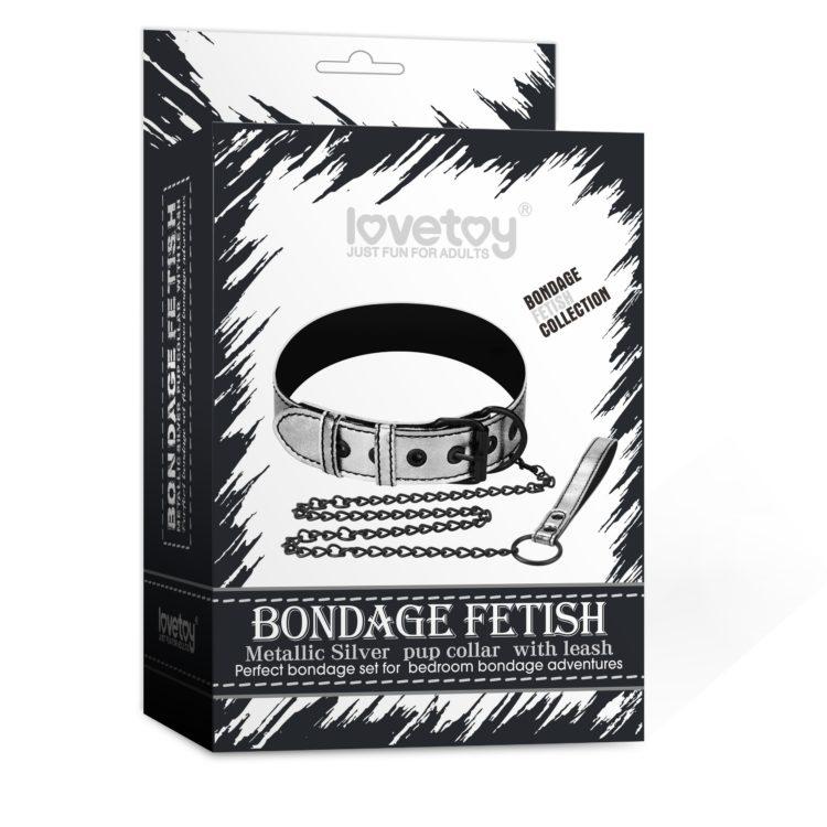 Ошейник с поводком на цепи Bondage Fetish Black Matt Collar With Leash серебристый
