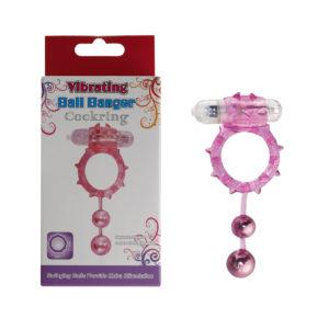 Эрекционное кольцо с вибрацией Ball Banger Cock Ring 2 balls+ Vibe розовое