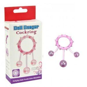 Кольцо с 3 утяжеляющими шариками фиолетовое Ball Banger Cock Ring 3 balls
