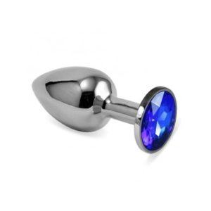 Металлическая анальная пробка с синим камушком S