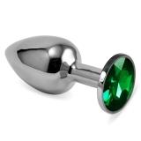 Металлическая анальная пробка с зеленым камушком M
