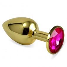 Золотистая анальная пробка с камушком цвета фуксии S