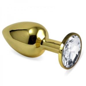 Золотистая анальная пробка с прозрачным камушком L