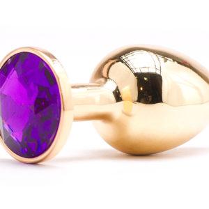 Золотистая анальная пробка с фиолетовым камушком S