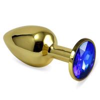 Золотистая анальная пробка с синим камушком S